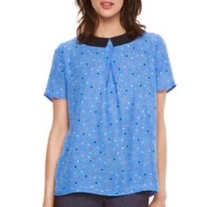 Elle Polka Dot Top with Black Collar/ M